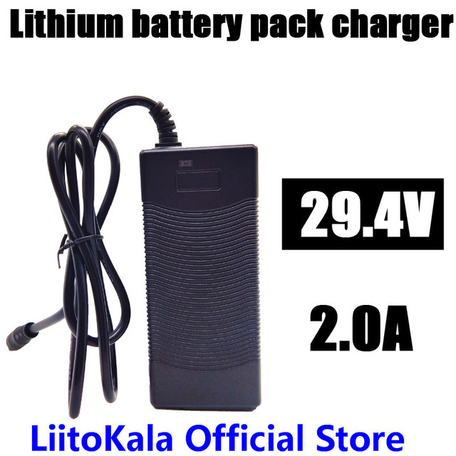 HK LiitoKala High quality 29.4V 2A electric bike lithium 18650 charger for 24V 2A lithium battery pack Plug connector charger