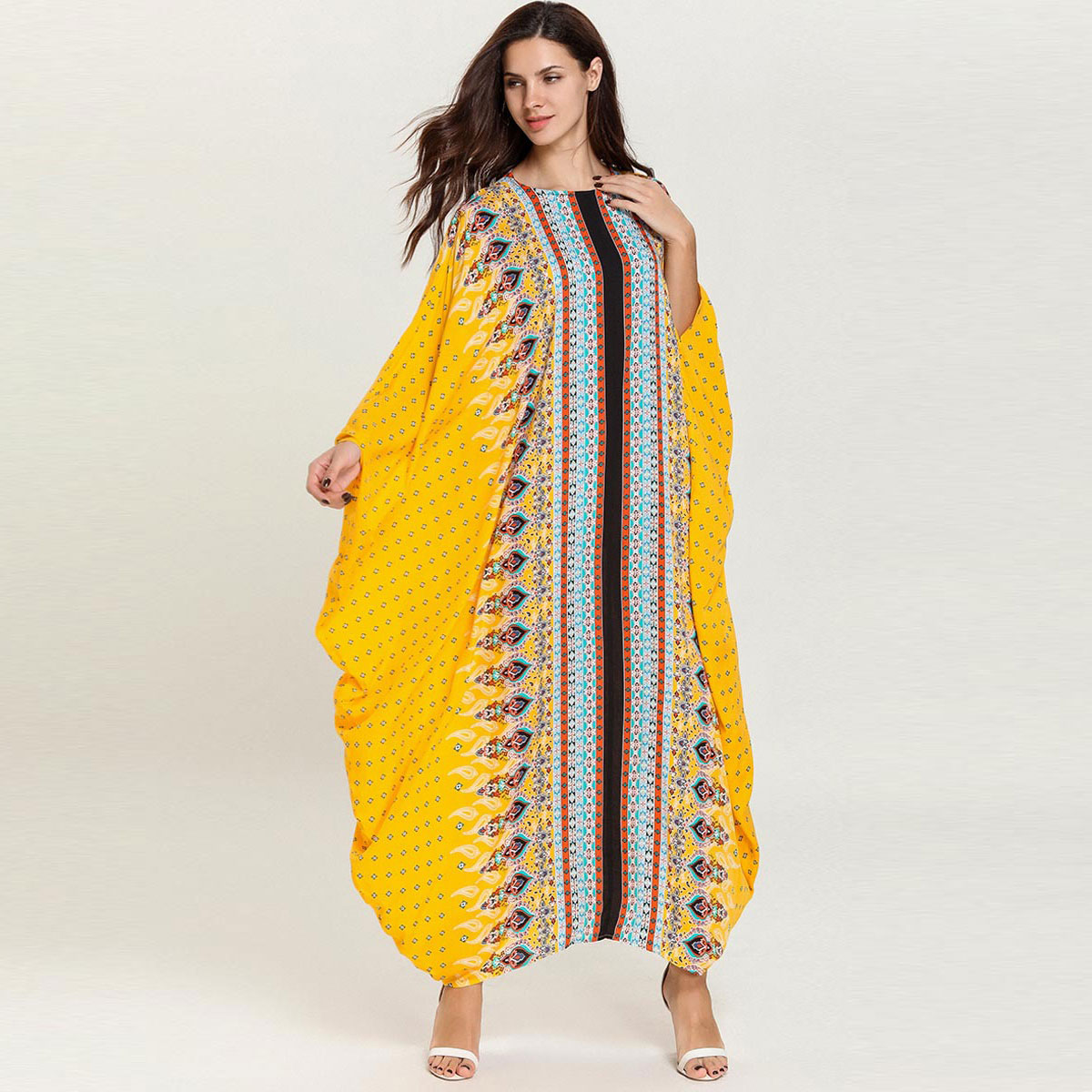 Women Batwing Sleeve Muslim Dress Printed Loose Dubai Abaya Robe Kaftan Moroccan Arabic UAE Islamic Gown VKDR1688