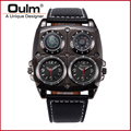 Man Watches Quartz Watch Oulm 1140 High Quality Leather Strap Multiple Time Zone Watches New With Tags