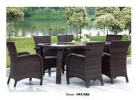 Luxury Rattan Garden Sofa Chair Table Combination Modern Leisure Outdoor desk Table chairs balcony Garden furniture Set HFC 020