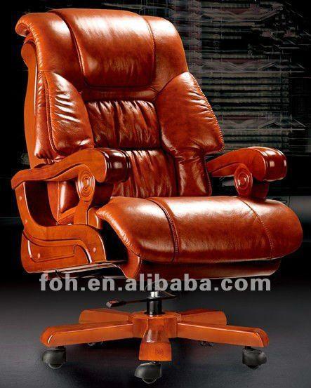 Desk Chair Recliner Kitchen Covers Dunelm Luxurious Brown Executive High Back Boss Reclining Ceo Office Foha 20