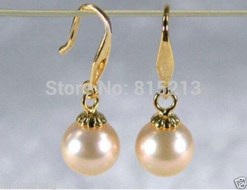Vente chaude> wb00484 AAA + 8-8.5mm en 14 k or Australien mer du sud perles crochet boucles d'oreilles-Mariée bijoux livraison gratuite