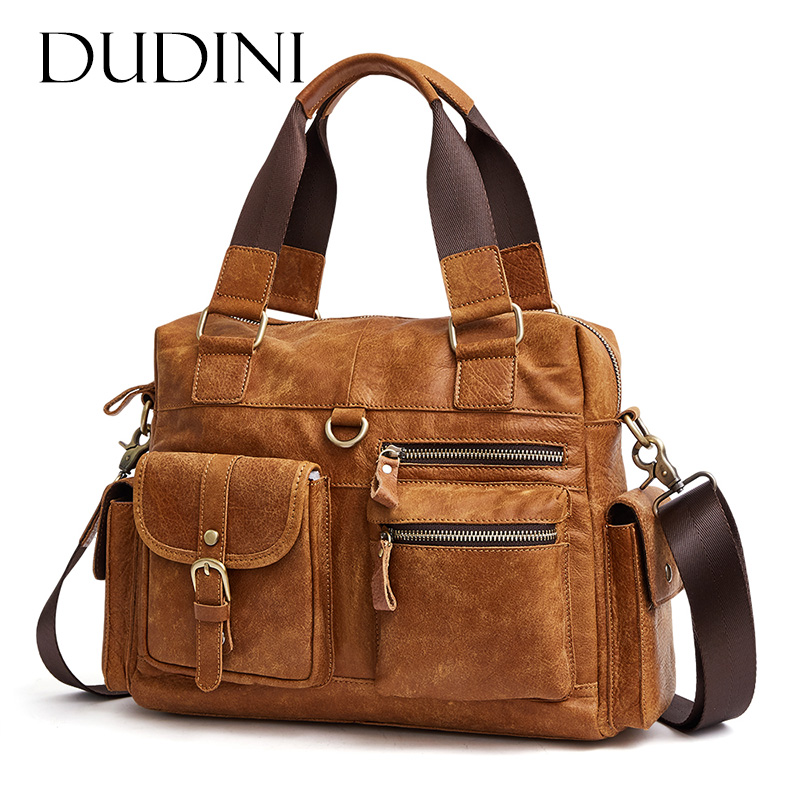 [DUDINI] Men Casual Briefcase Business Shoulder Bag Computer Laptop Handbag Bag Genuine Leather Messenger Bags Men's Travel Bags vintage crossbody bag military canvas shoulder bags men messenger bag men casual handbag tote business briefcase for computer