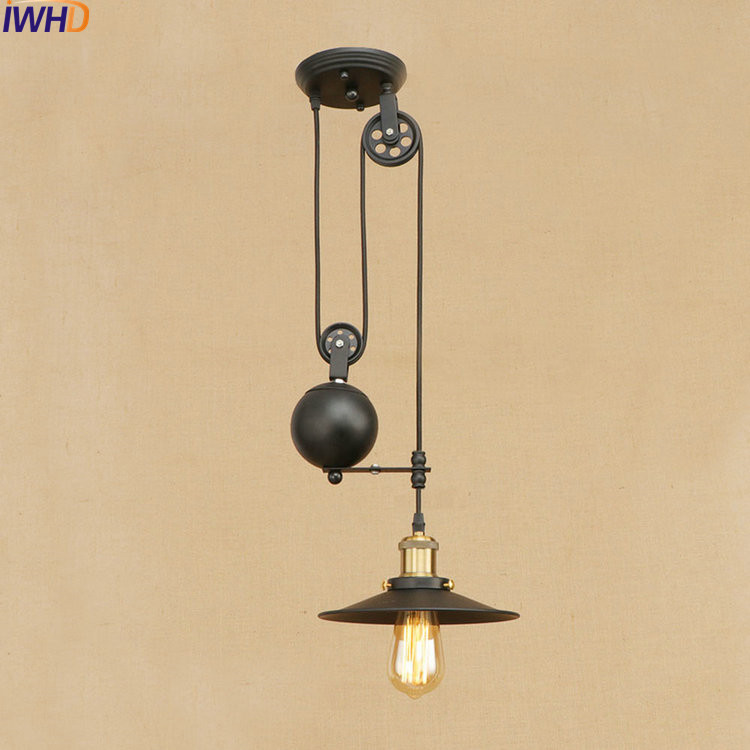IWHD Loft Style Iron Lift Pulley Droplight LED Edison Pendant Light Fixtures Vintage Industrial Lighting Mirror Hanging Lamp iwhd loft style iron water pipe pendant light fixtures hemp rope edison vintage industrial lighting mirror glass hanging lamp
