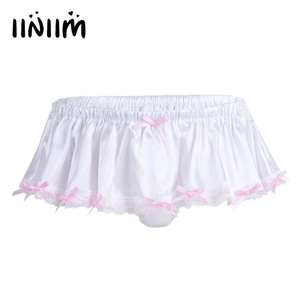 Mens Lingerie Sexy Gay Panties Soft Shiny Bowknot Ruffled Skirted Panties Sissy Lace Briefs Good Stretchy Underwear Undepants