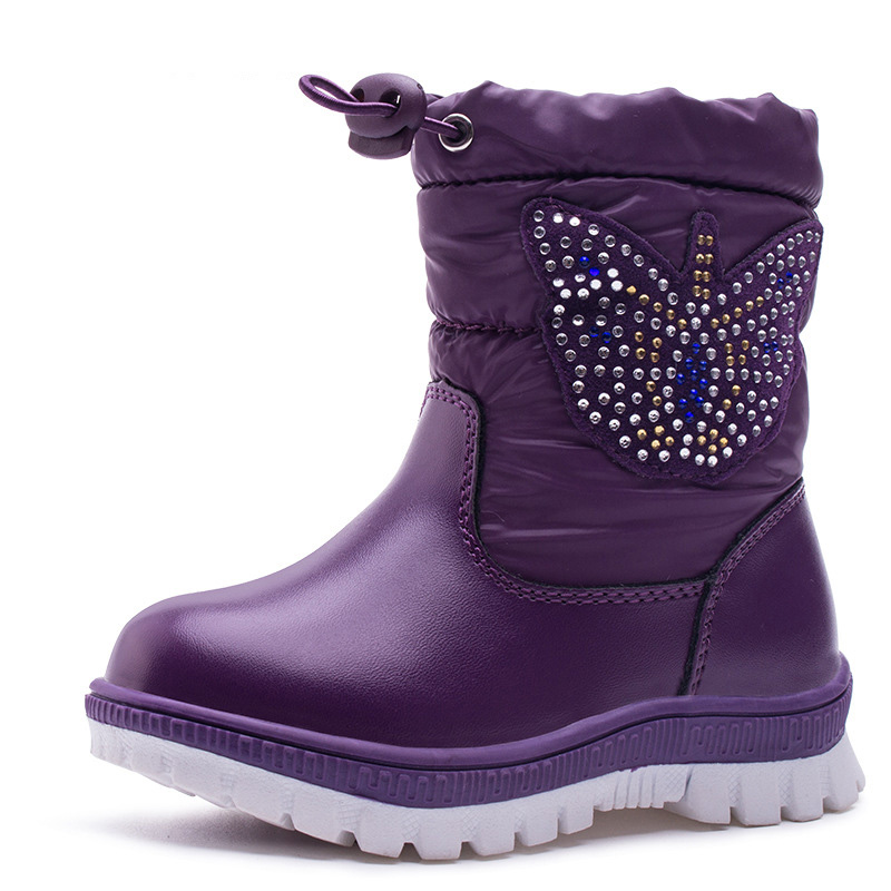 2018 Winter Waterproof Girls Snow Boots Mid Calf Children's Shoes Butterfly Flat Boots Warm Plush Winter Boots For Girls Boys