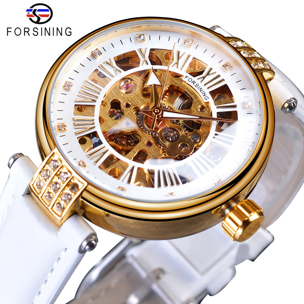 Forsining White Gold Mechanical Automatic Luxury Top Brand Lady Wrist Watch Skeleton Clock Women Leather Dress Age Girl Watches