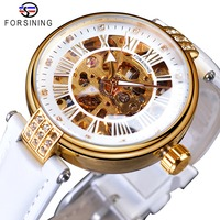 Forsining White Golden Mechanical Automatic Luxury Top Brand Lady Wrist Watch Skeleton Clock Women Genuine Leather Dress Watches