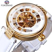 Forsining ホワイトゴールド機械式自動高級トップブランド女性腕時計スケルトン時計女性革ドレス年齢ガール腕時計