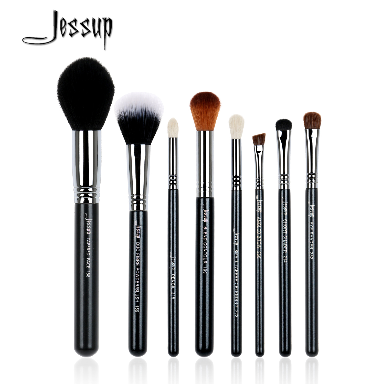 Jessup 8pcs High Quality Pro Makeup Brushes Set Foundation Blend Duo Fibre Contour Shader Powder Make up brush beauty Tools Kits jessup 5pcs black gold makeup brushes sets high quality beauty kits kabuki foundation powder blush make up brush cosmetics tool