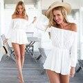 ladies rompers Off shoulder female overalls Chiffon Jumpsuit Slash Neck Long Sleeve white rompers womens jumpsuit 31
