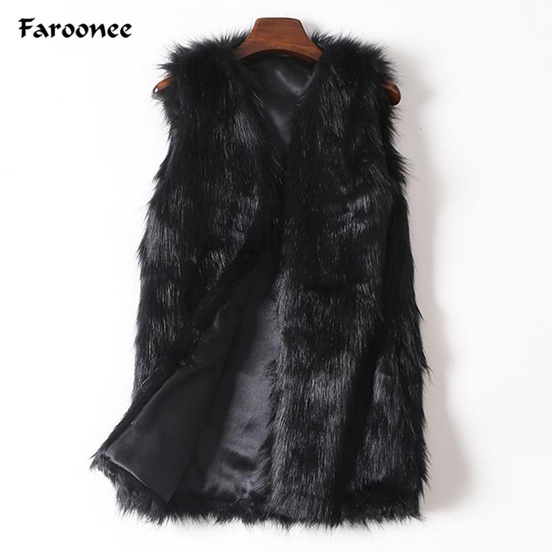 Goplus Women Brown Plus Size Faux Fur Vest Slim Long Faux Fur Coat Women Xxl Gilet Fourrure Rabbit Fur Femme Vest Long Coat Faux Fur Women's Clothing