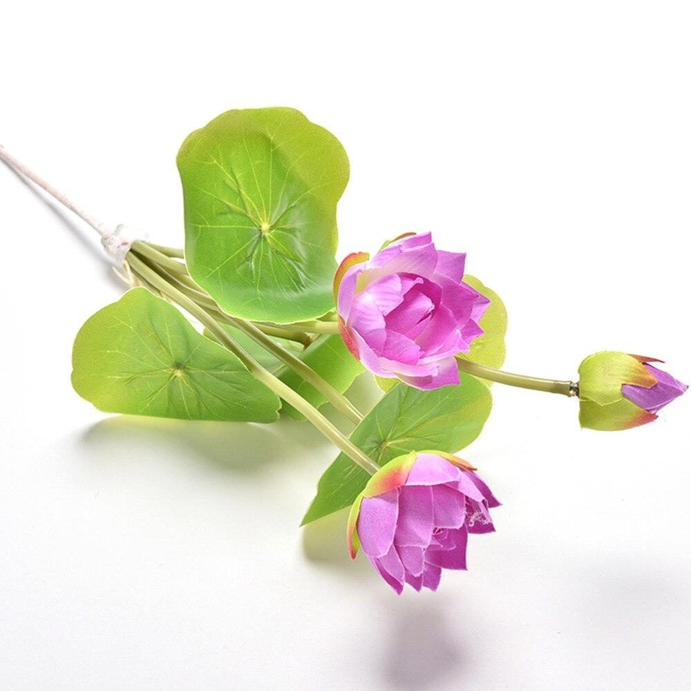 4 Colors Green Leaf Plant Mini Artificial Lotus Flower Desktop Vase ...