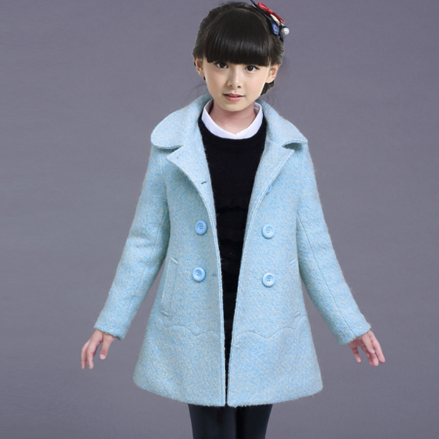 ФОТО Fashion Winter Girls Coat Solid Color Blue Casual 3 4 6 8 10 12 Years Child Winter Jackets 2017 Kids Girls Clothes 166004