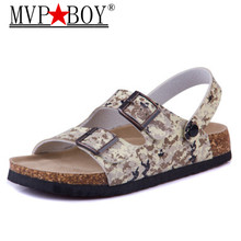 Mvp Boy 2018 New Summer Man Beach Cork Sandals Flat with Casual Men Double Buckle Sandalias Valentine Shoe Black Blue Brown Pink
