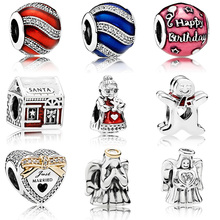 Silver Plated  Bead With Angel Baby Sant Crystal for Diy Women Pandora Charms Bracelets & Bangles