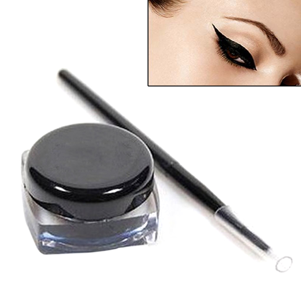 BGVfive Brand New Women Black Makeup Waterproof Long Lasting Eyeliner Eye Liner Pen And Brush Set Makeup Tools