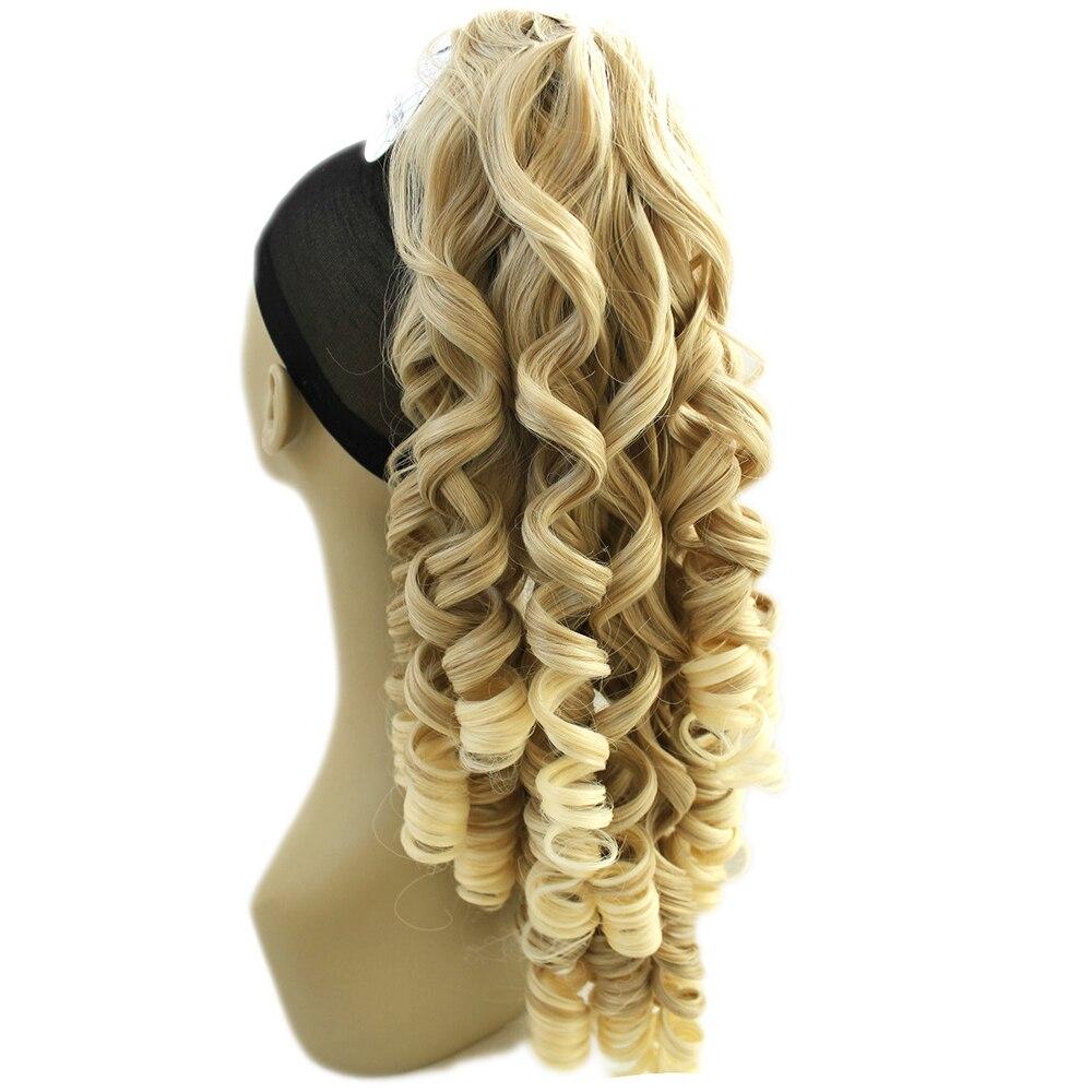 Soowee 180g Long Blonde Bouclés Clip En Extensions de Cheveux Morceaux Poney Queue Haute Température Fiber Synthétique Cheveux Griffe Queue de Cheval