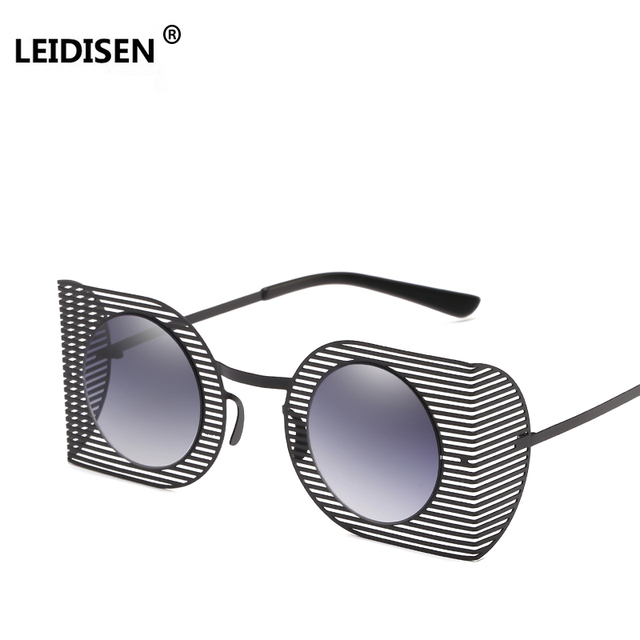 72b0fa2a5c4 LEIDISEN 2018 New Punk Style Women Goggle Sunglasses Fashion Hollow Out Frame  Men Round Red Tinted Lens Glasses UV400