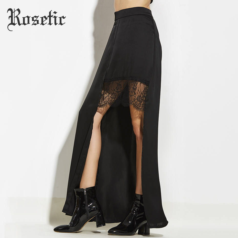 Rosetic Fashion Women Gothic Style Sexy Asymmetrical Patchwork Chiffon Skirt Hollow out Lace Elegant Party Long Skirts