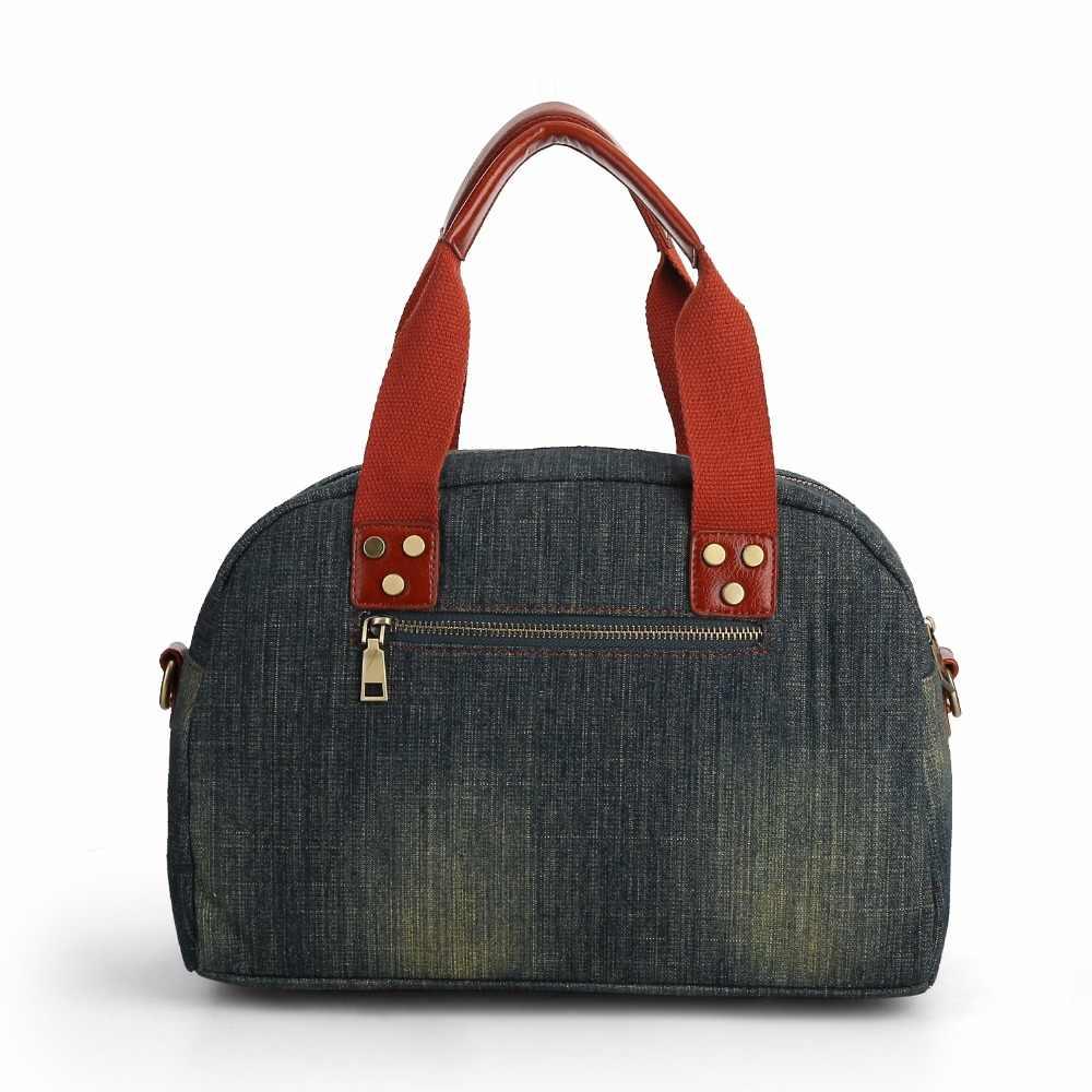 Vintage moda Denim Tote kadınlar çanta kot bayan çanta kadın omuz çantaları Retro üst kolu rahat çapraz vücut Tote çanta