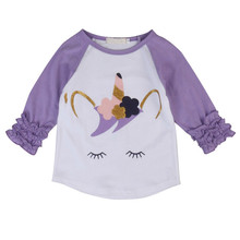 Autumn Kids Toddler Infant Baby Girls Ruffled Print T-Shirt Patchwork Long Raglan Sleeve Top Outfit Print Cute Clothing 1-6Y