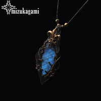 Only One Piece Pure Handmade High Quality Copper Wire Natural Labradorite Pendant Leather Necklace For Women