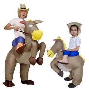 Los niños adultos carnaval Purim traje inflable disfraz de burro Fan operado adulto Cosplay Animal jinete