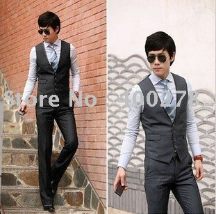 Wholesale & retail Men's Suit Vests Stylish Casual Slim Fit  style Collar  Black Gray  M L XL MJ06