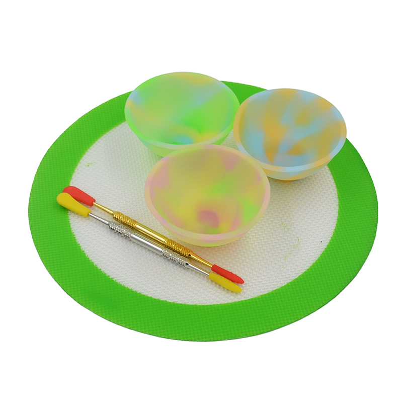 3pcs Slick oil Silicone butane oil concentrate Pinch Bowl Dab wax container jar 2pc Bho Dabber Carving tool Silicone Baking Mat in Storage Bottles Jars from Home Garden