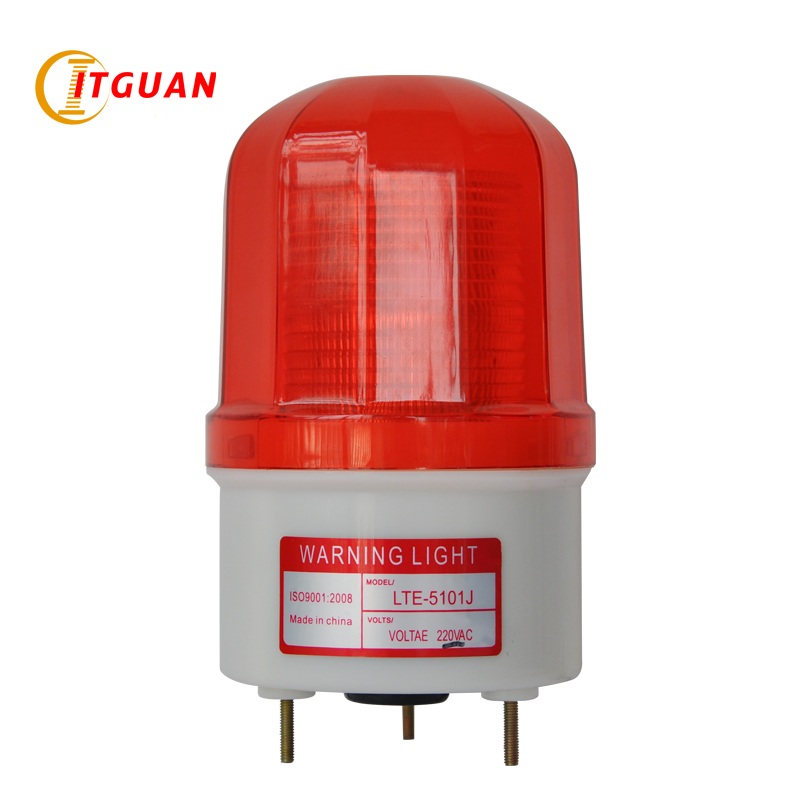 AC110V 220V LTE-5101J Industrial Warning Light Alarm lights LED Flashing Signal Bolt Bottom With Buzzer Sound DC12V 24V lte 5071j led strobe warning light alarm dc12v 24v ac220v signal emergency lamp with buzzer sound 90db beacon light