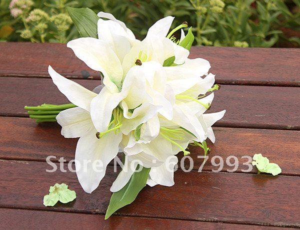Aliexpress buy artificial lilies bridesmaid bouquet wedding artificial lilies bridesmaid bouquet wedding party bridal flower home decoration faux silk flower mightylinksfo