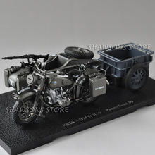 1:24 Diecast Military Model Toy SS18 R75 Panzerfaust 30 Sidecar Motorcycle Motorbike Miniature Replica