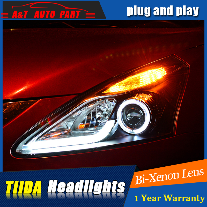Car Styling For NISSAN TIIDA headlight assembly 2011-2015 For TIIDA LED head lamp Angel front light h7 with hid kit 2pcs. hireno headlamp for 2013 2015 nissan tiida headlight assembly led drl angel lens double beam hid xenon 2pcs