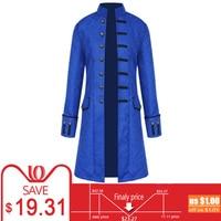 Stand Collar Mens Gothic Trench Coat Steampunk Men Cardigan Long Sleeve Male Frock Coats Autumn Long Men's Jacket Overcoat Veren