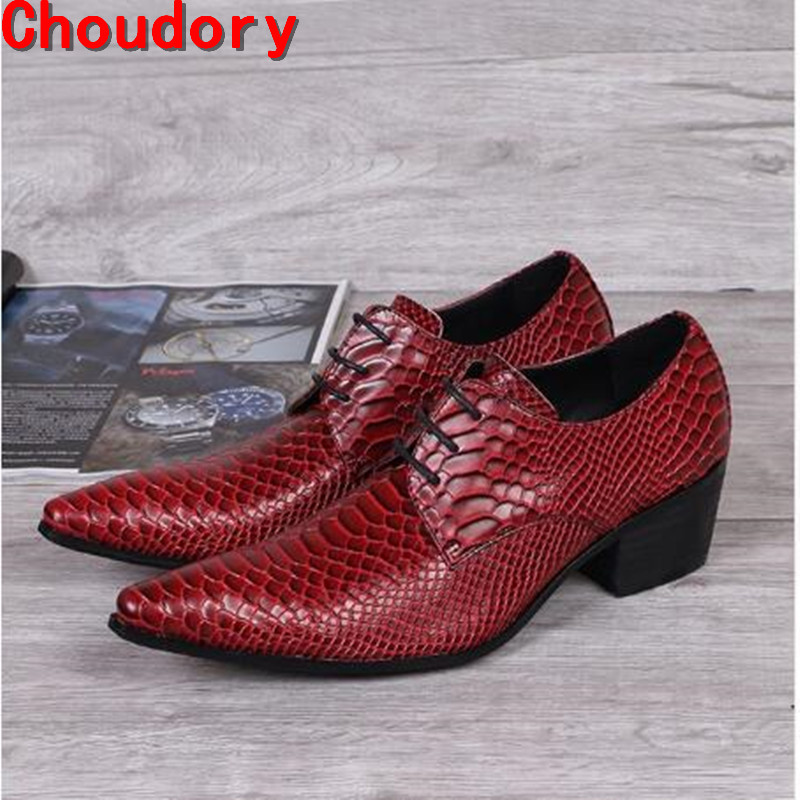 Choudory Zapatos hombre italian shoes brands man prom red high heels shoes pointed toe snake skin   leather   dress wedding shoes