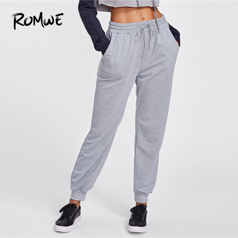 Romwe Sport Grey Drawstring Waist Marled Sweatpants Women Winter Running Pants Exercise Outdoor Jogging Sports Workout Trousers