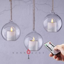 Фотография Remote Set of 3 Indoor and Outdoor Glass Lanterns with LED tree lights,Decorative Candle Lanterns,flameless candle holder