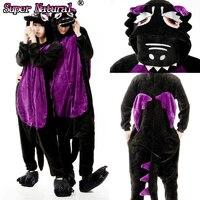 Winter Warm Adult Cartoon Animal Black Dinosaur Pajamas Kigurum Onesie Cosplay Costume Homewear For Halloween Christmas