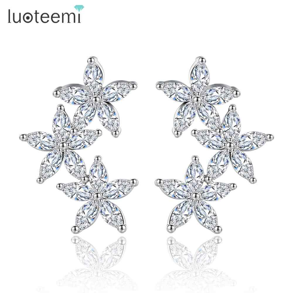 LUOTEEMI Charm Flowers Blossoming Stud Earrings for Women Wedding Cubic Zircon White Gold Color Fashion Jewelry Gift Brincos