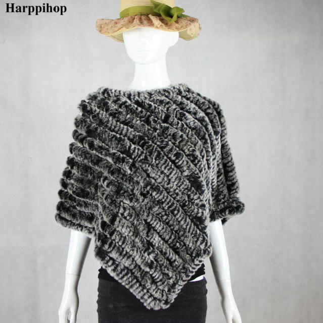 Hot Sale Real Fur Pashmina Shawls For Female Handmade Knitted Rabbit Fur Poncho Women Fur Shawl Winter