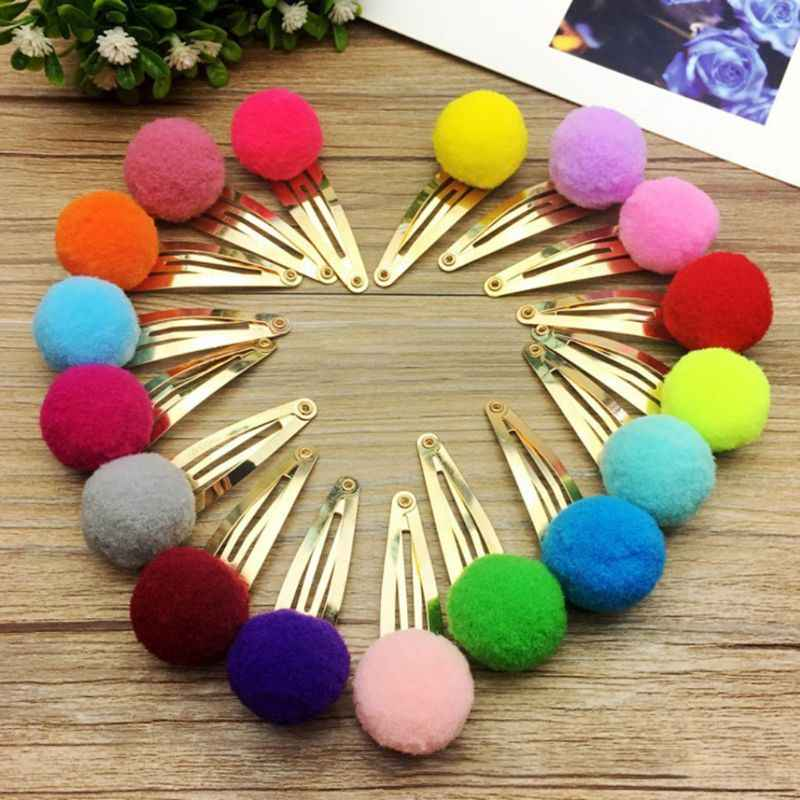 10Pcs/Set Child Baby Girls Metal Alloy Hair BB Clips Lovely Candy Color Mini Pompom Ball Decor Hairpins Water Drop Sweet Snap