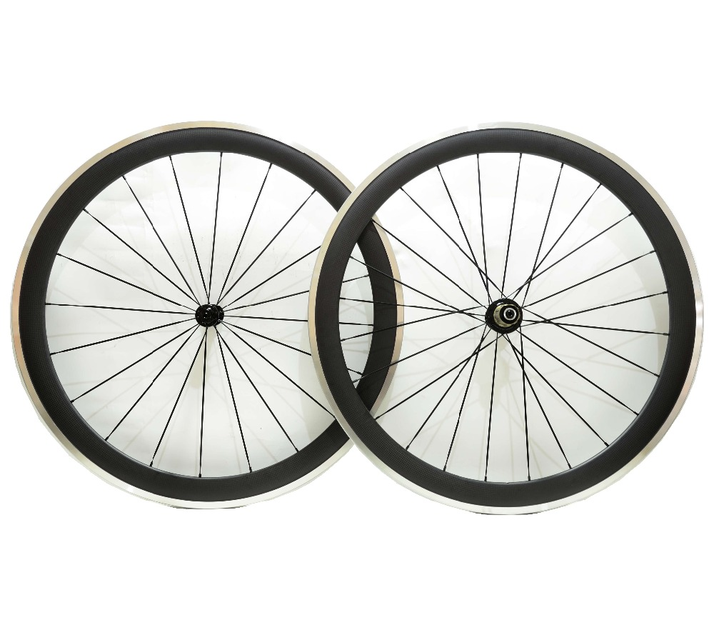 Free shipping by EMS alloy brake surface carbon wheels 50mm depth road bike wheelset 700C 23mm width 3k finish with Powerway R13 gub aluminum v brake road bike wheels 42mm cheap wheels with alloy brake surface clincher wheelset 700c 10 11speed compatible