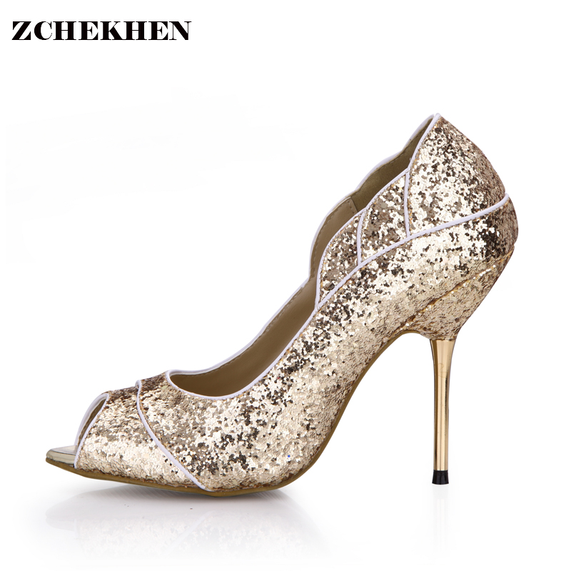 Women's Sexy Classic Peep-toe Sexy Extreme High Heels Pumps Singles Shoes Gold Bling Work Dress Party Model Shoes SMR3845C-2a phil collins singles 4 lp