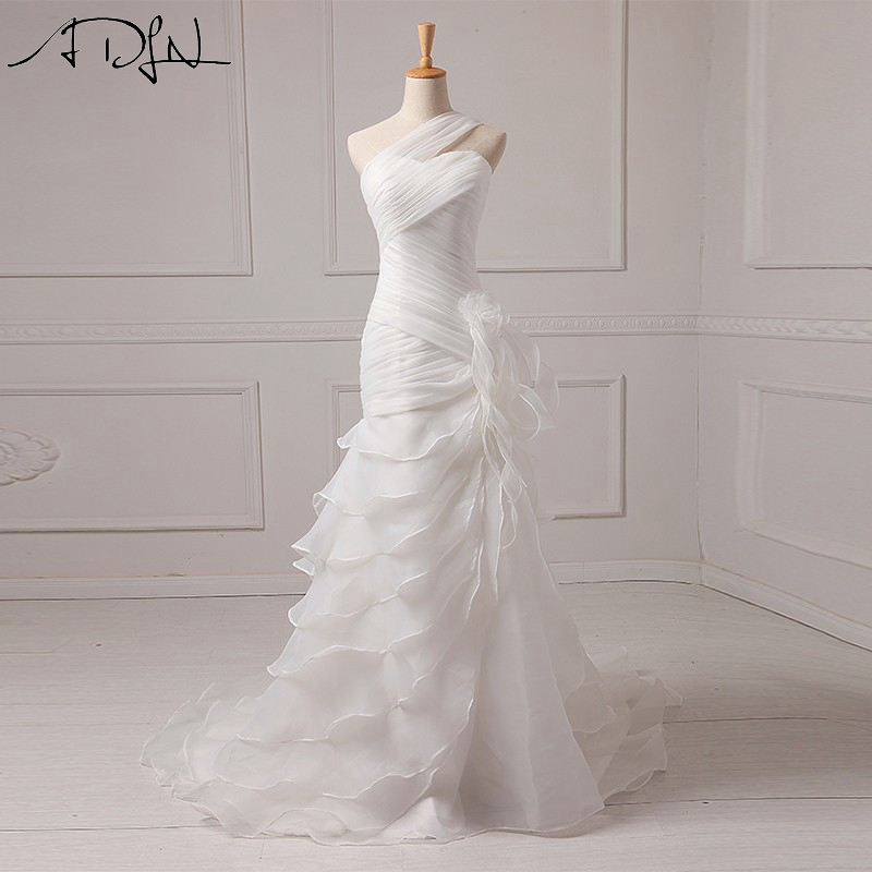 ADLN Organza Mermaid Bryllupskjoler Med Tiered Skirt Court Train En Shoulder Bridal Gowns Robe De Mariee Tilpasset