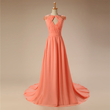 Peach A-line Cap Sleeves Chiffon Backless Long Plus Size Prom Dress