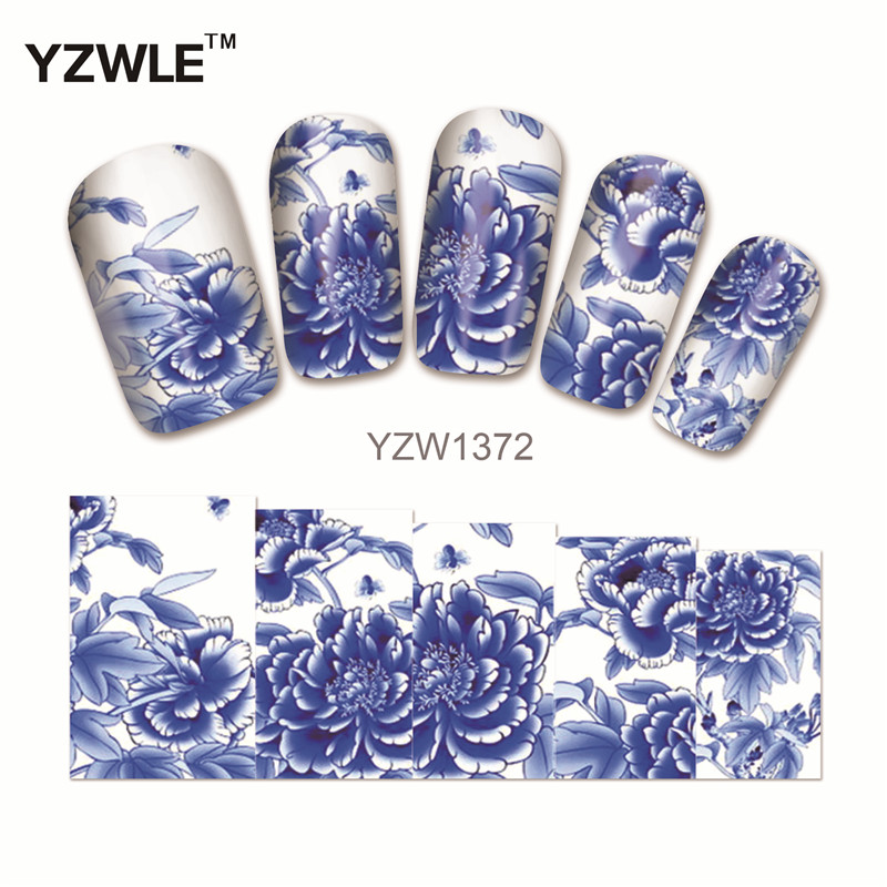 YZWLE 1 Sheet New Nail Art Full Cover Blue Flower Stickers Decals Water Transfer Wraps Decorations Manicure Care Tools 10 sheets lot charming nail stickers full wraps flowers water transfer nail decals decorations diy watermark manicure tools