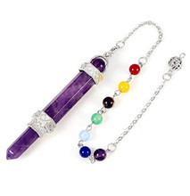 FYJS Unique Silver Plated Layer Hexagon Column Scepter Natural Purple Amethysts Pendant with Beads Jewelry fyjs unique silver plated flower wrap natural purple amethysts hexagon column pendant link chain necklace