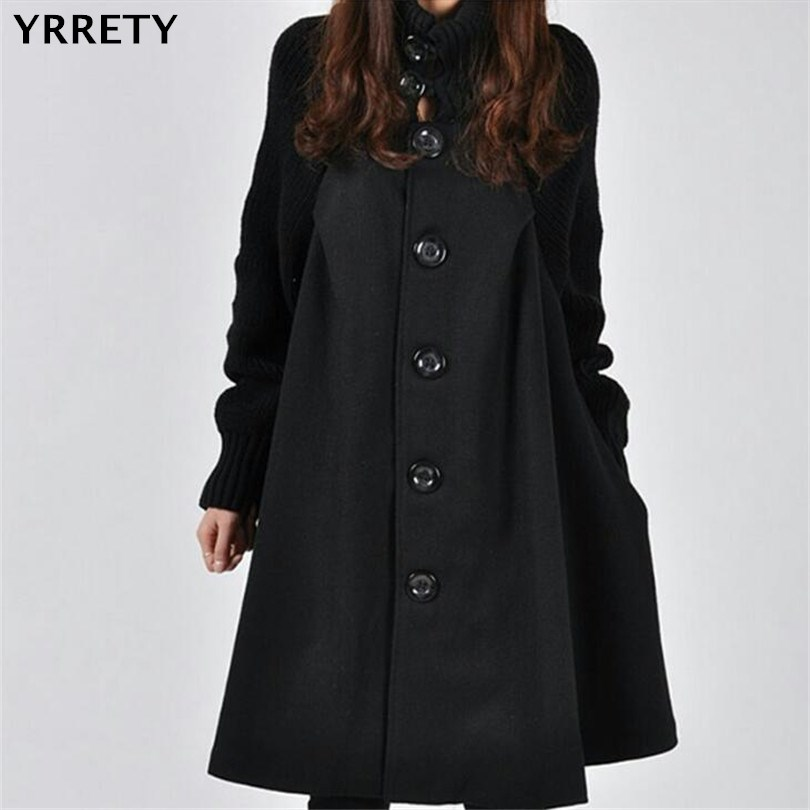 YRRETY 2018 Autumn Winter Fashion Women Coat   Jacket   Long Sleeve   Basic     Jackets   High Quality Wool Coats Loose Warm Woolen Outwear
