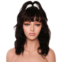 SHUMEIDA 13*3 Lace Front Short Human Hair Wigs With Bangs Wavy Lace Front Wig Brazilian Remy Hair Lace Wigs For Women 130%